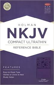 NKJV Compact Ultrathin Bible Purple by Holman (LeatherTouch)
