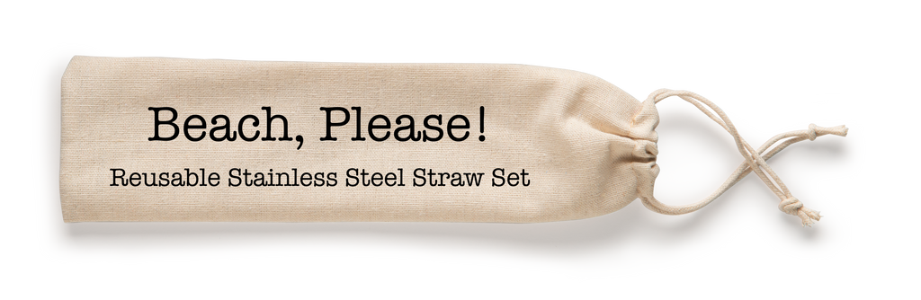 Shell Creek Sellers Reusable Straws - Beach, Please! Stainless Straw Set