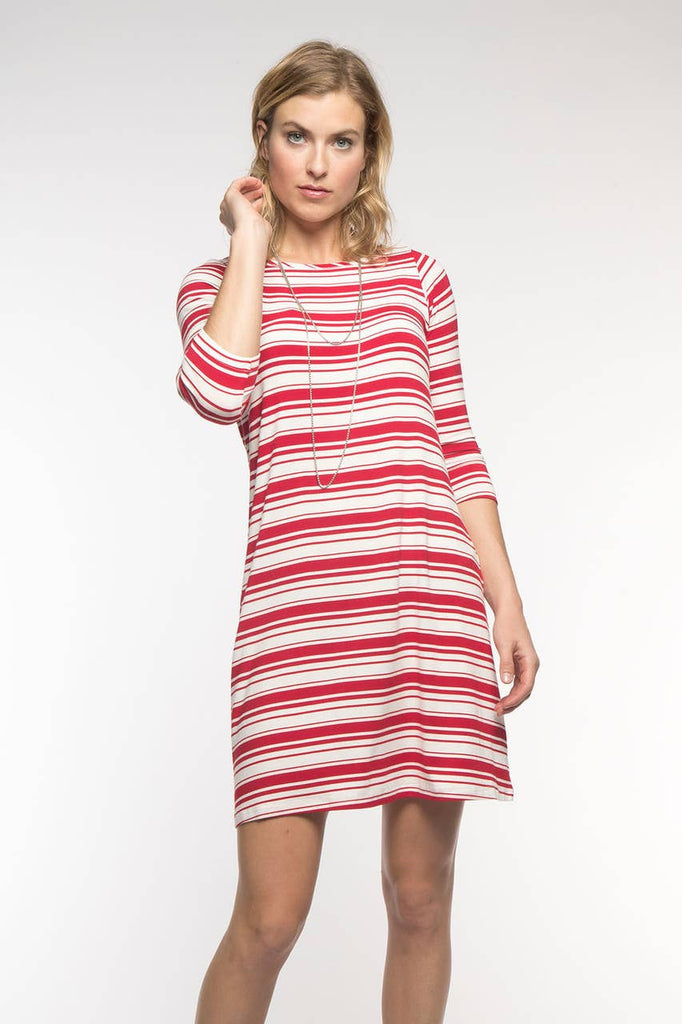 YALA - Cherry Stripe Rita Dress
