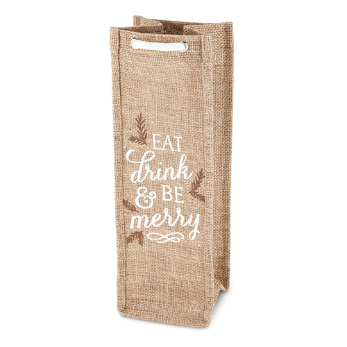 Be Merry 750ml Bottle Jute Tote By Cakewalk