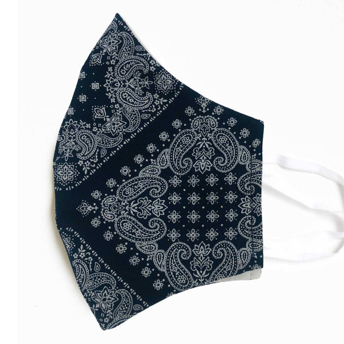 Facemasks LA - Face Mask - Bandana Dark Navy & White
