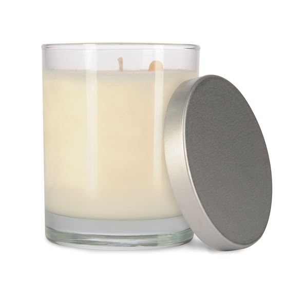 EcoChic Clean Burning Soy Candles 7.5 oz glass jar with brushed silver lid ~ holiday scents in stock now!