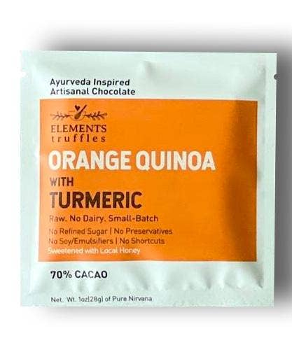Elements Truffles - Orange Quinoa with Turmeric Chocolate Bar