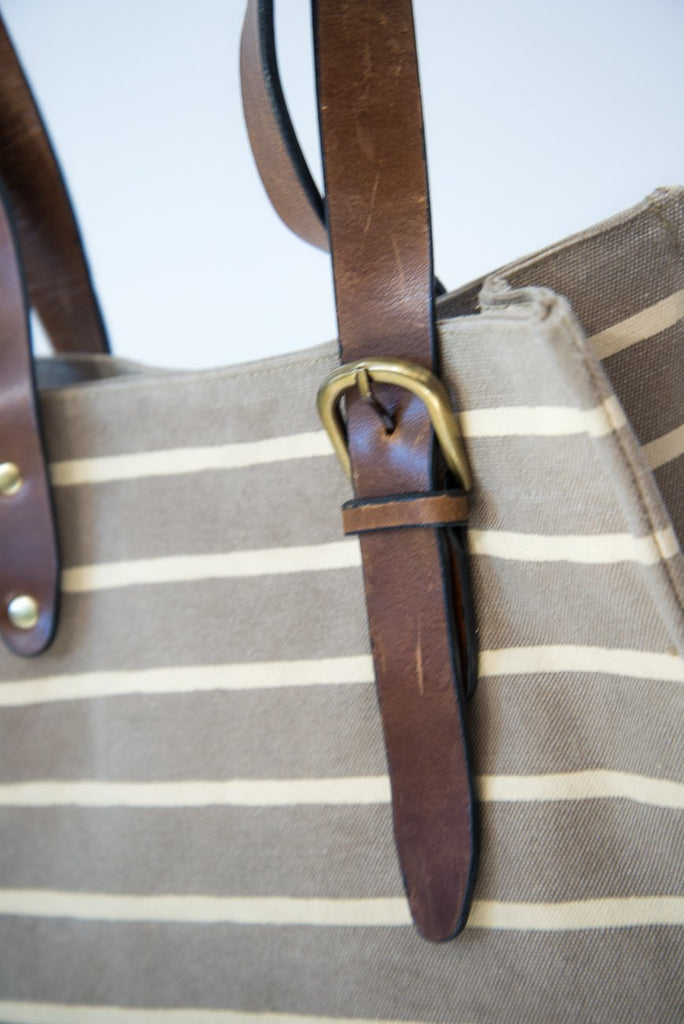 Nice Beige Striped Tote Bag