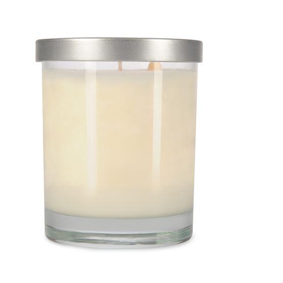 EcoChic Clean Burning Soy Candles 7.5 oz glass jar with brushed silver lid