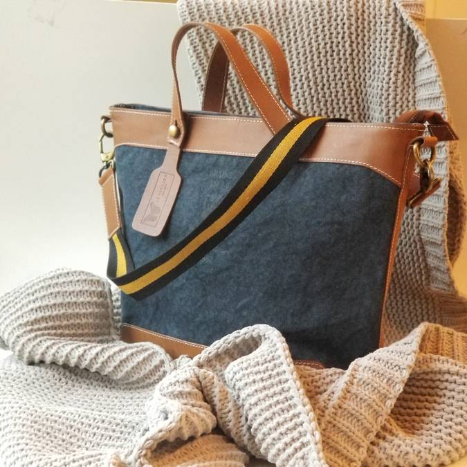 Blue Le Mans Leather Handbag