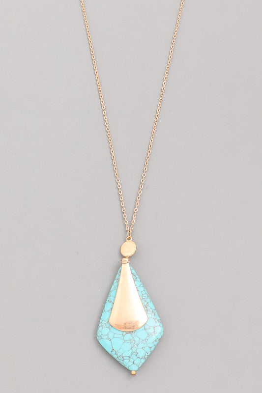 Rhombus Stone Pendant Necklace