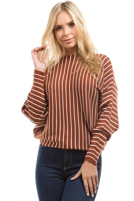 Clay Sweater with White Stripes