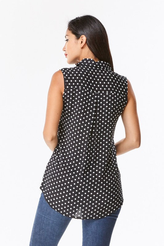 Sleeveless Black and White Polka Dot Top