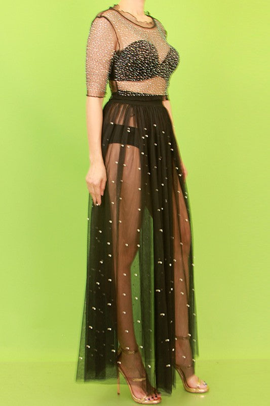 Mesh With Pearl Maxi Skirt