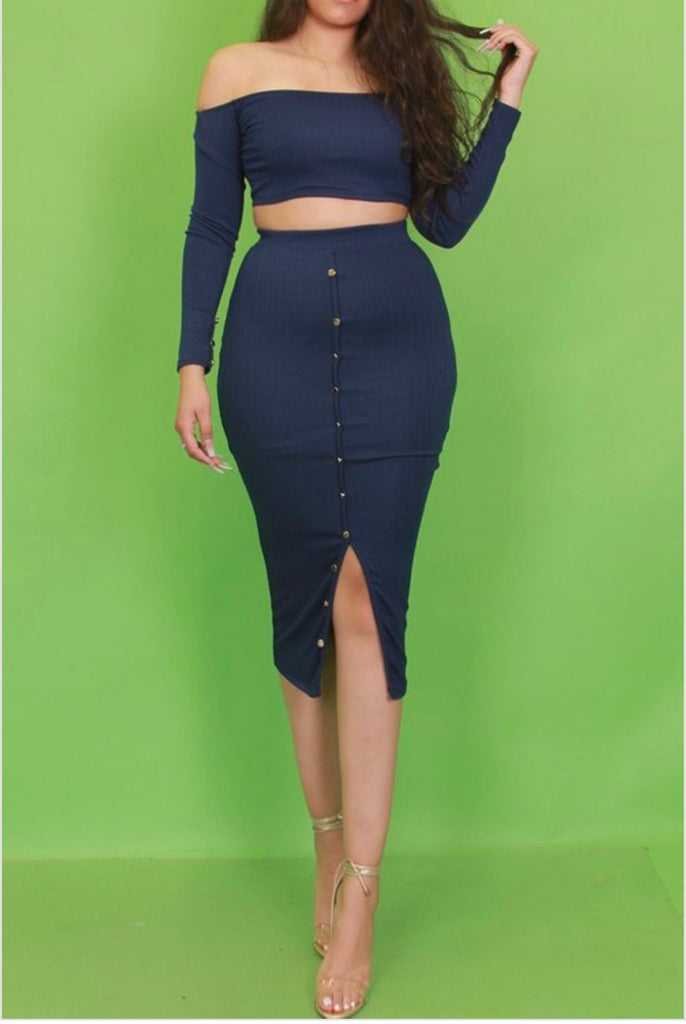 Navy Skirt Set