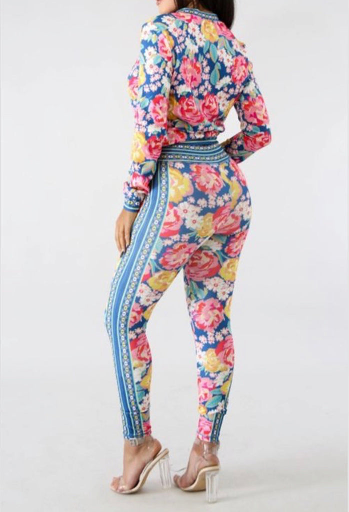 Flower Print Jacket Legging Set