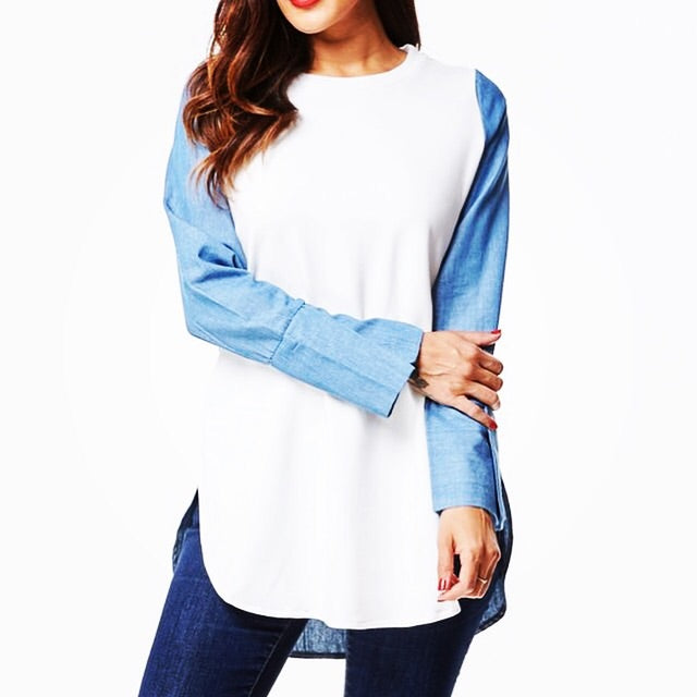 Denim and White Long Sleeve Shirt