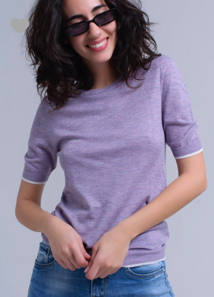 Purple  Sweater Short Sheeve