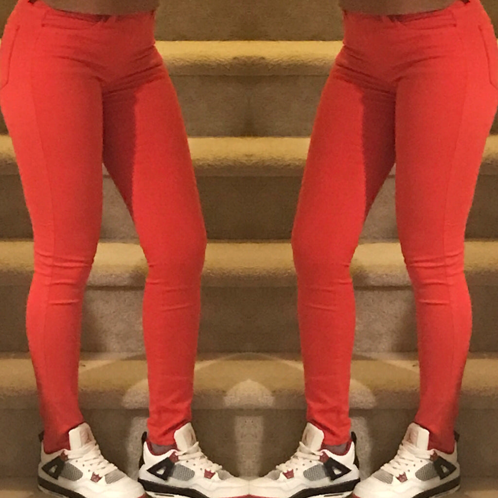 Mid Rise Red Jeans