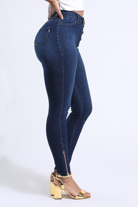 High Waist Button Jeans
