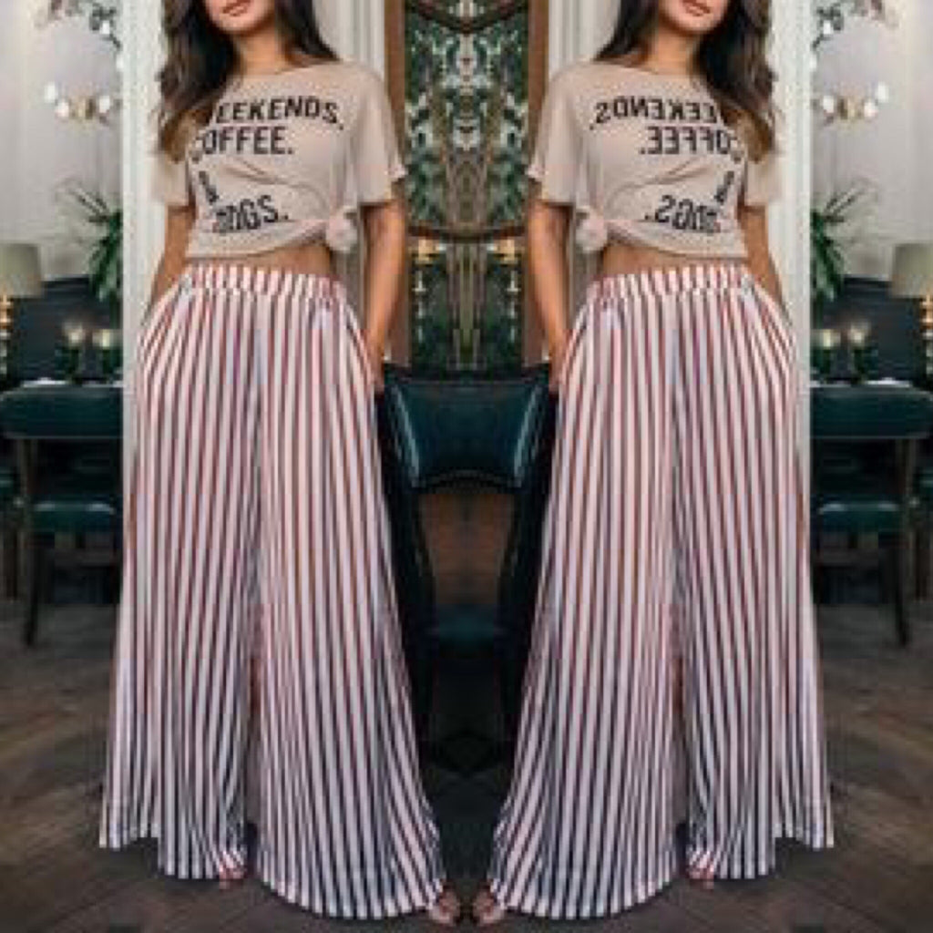 Brown Stripped Wide Leg Pants