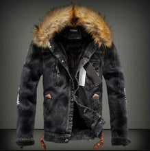 Mens Denim Jacket with Fur Collar Retro Ripped Fleece Jeans Jacket and Coat for Autumn Winter S-XXXXL