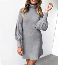 Lantern sleeve Dress Winter Women turtleneck Knitted Dresses