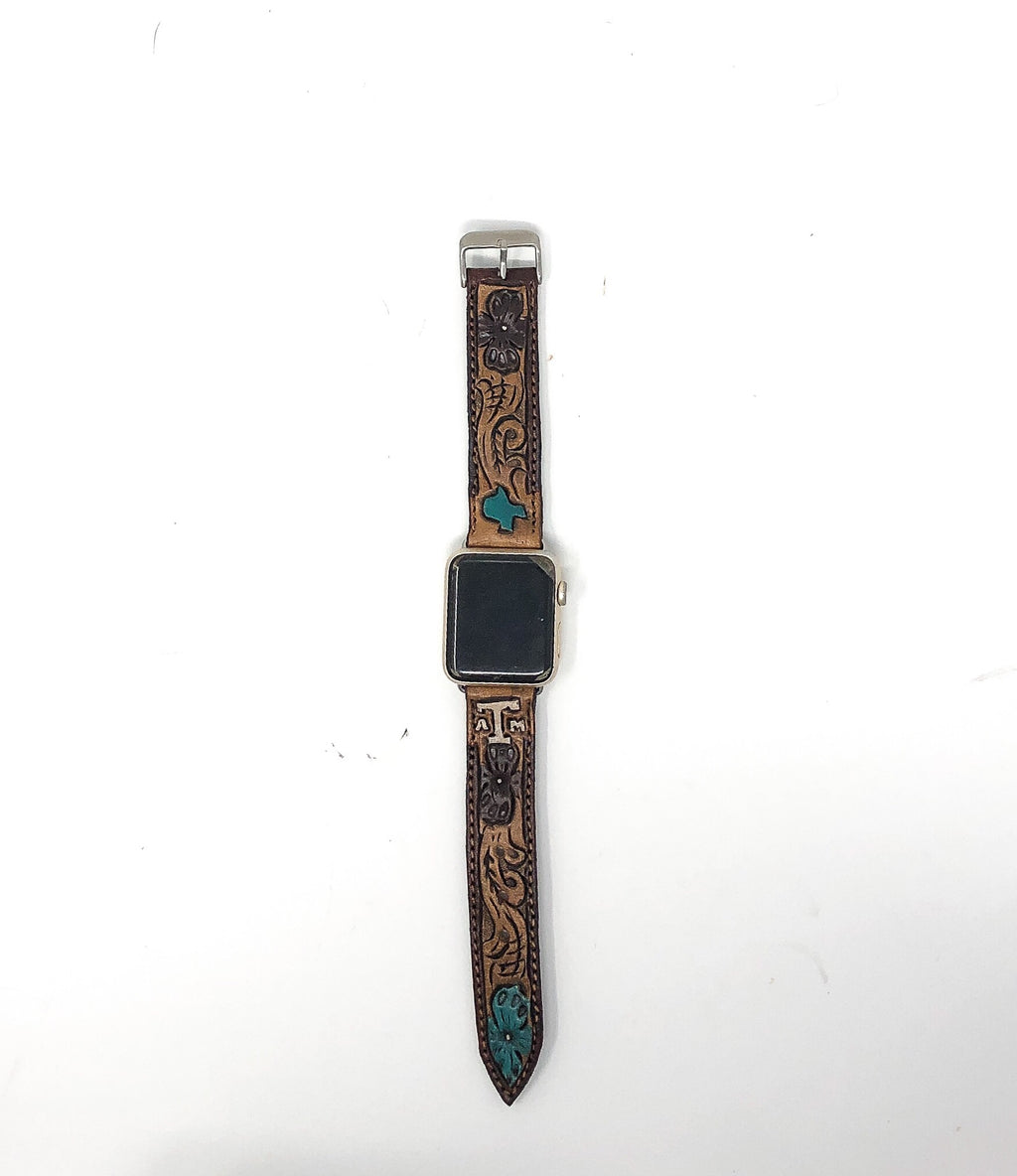 Custom Hand Tooled Leather Apple Watch Band