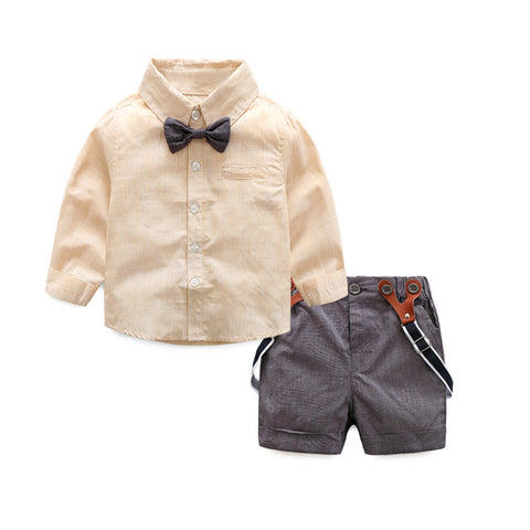 baby infant boy outfit set collared shirt bowtie shorts schoolboy suspenders preppy