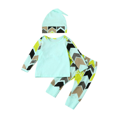 Baby Boy Outfit with Geometric Print Shirt + Pants + Hat