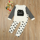 Black and White Striped Monster Long-Sleeve T-Shirt + Pants, 2PCS Outfit