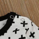 Black & White Cross Print Romper Jumpsuit Outfit