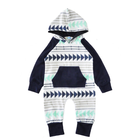 Triangle Arrow Pattern Romper // Infant Boys One Pieces Outfit
