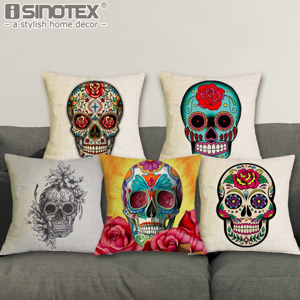 Sugar Skull Square Throw Pillow Covers