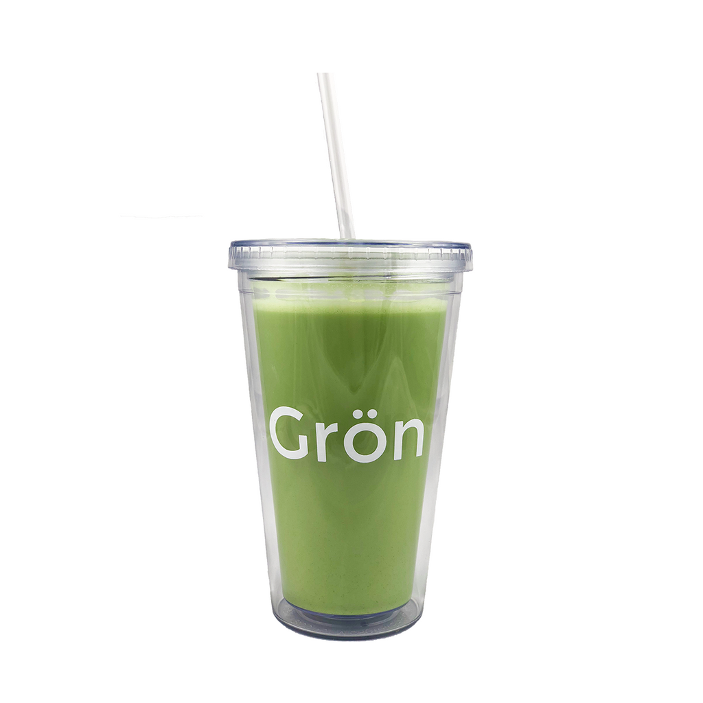 Iced matcha latte cup with Gron organic matcha green tea