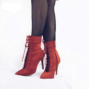 Red high heel boots