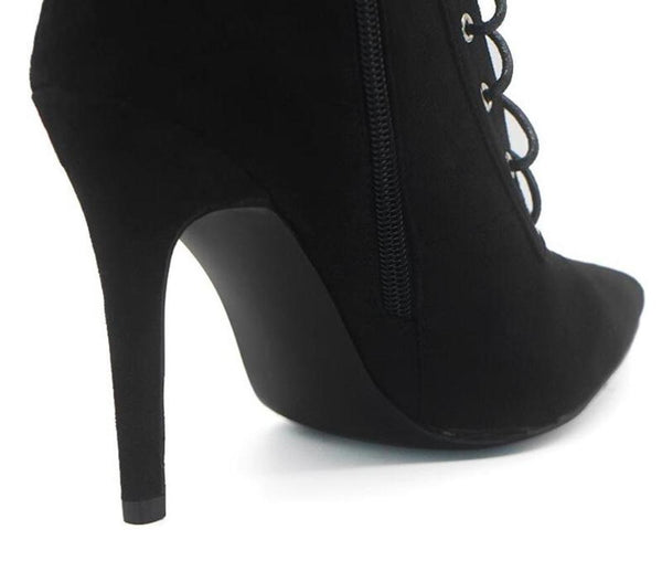 High heel boot Black  Suede Stiletto boot Ankle High Lace Up