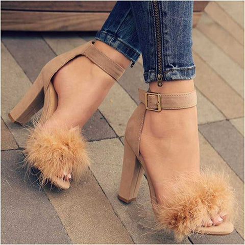 Khaki Suede Feather Furry Open-Toe Buckle Strap Square Heel