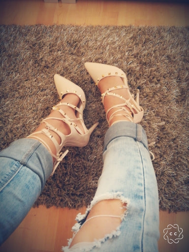 Pink Stiletto Point Toe Studded Ankle High Lace Up