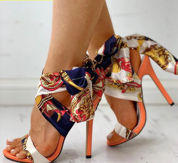 Ribbon Lace-Up Peep Toe Gladiator High Heels