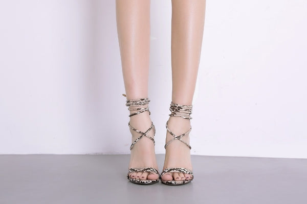Snake Skin Sandals Lace-Up High Heels