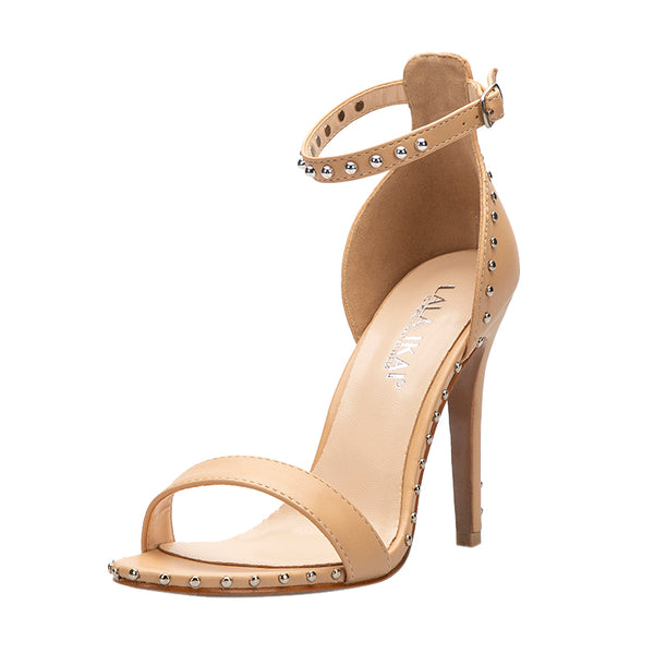 Apricot Leather Rivet Peep Toe Sandals High Heels
