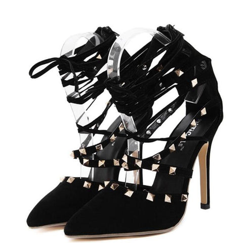 black Suede Stiletto Point Toe Studded Ankle High Lace Up