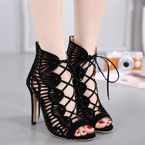 Black Casual Stiletto Open Toe Suede Lace-up