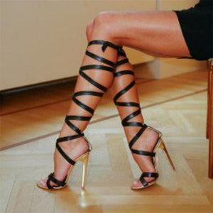 Black Roman Sandal Lace Up Knee High Strap