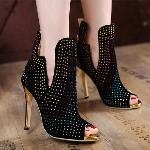 Black Stiletto Boot Rhinestone Studded Slip On Peep Toe