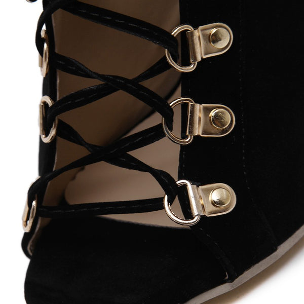 Black Rome Gladiator Ankle Boot Lace up Peep Toe Heel