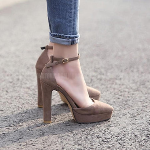 Khaki Flock Platform Square Heel Buckle Up