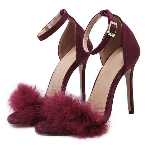 Red Flock Feather Furry Open-Toe Buckle Strap Square Heel