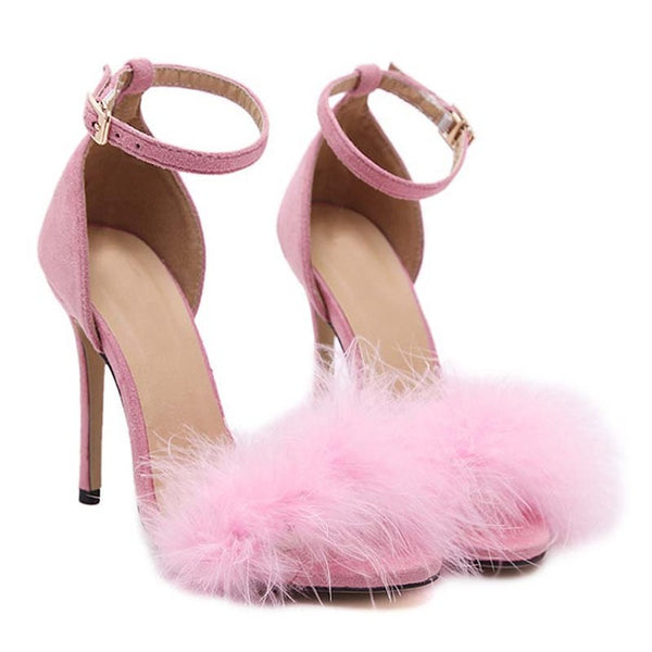 Pink Suede Feather Furry Open-Toe Buckle Strap Stiletto Heel