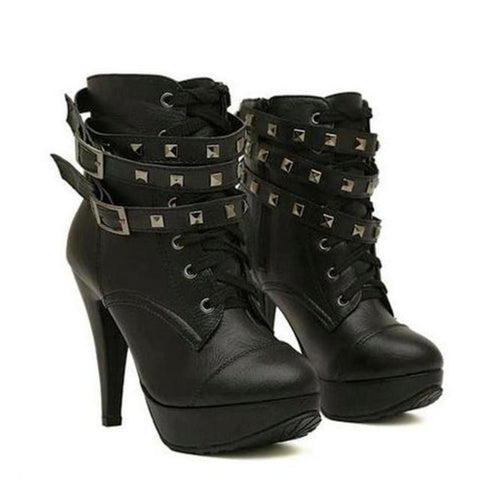 Black Motorcycle Ankle Boot Studded Lace Up Buckles