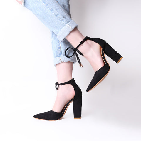 Black Flock Pointed Toe Sandal Lace Up