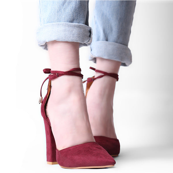 Red Flock Pointed Toe Sandal Lace Up