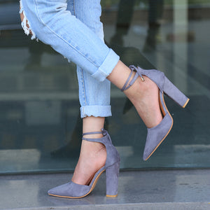 Gray Flock Pointed Toe Sandal Lace Up